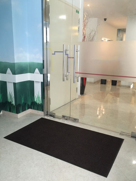 Cleanbio dust control floor mat rented by a hotel for its lobby